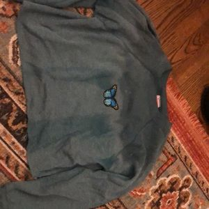 Sweaters - Distressed Butterfly cropped sweat shirt